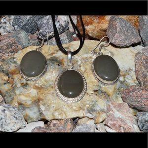 Statement Grayish Onyx Pendant & Earrings Set